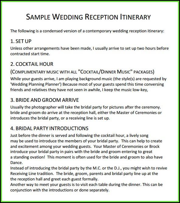 Wedding Reception Itinerary Sample