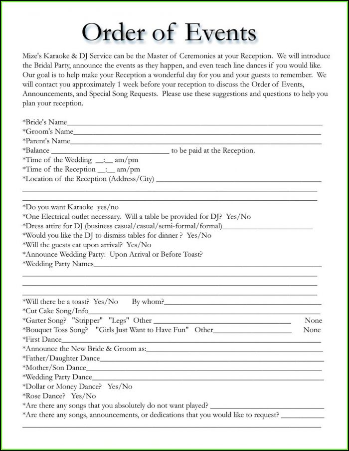 Wedding Reception Itinerary Template Free