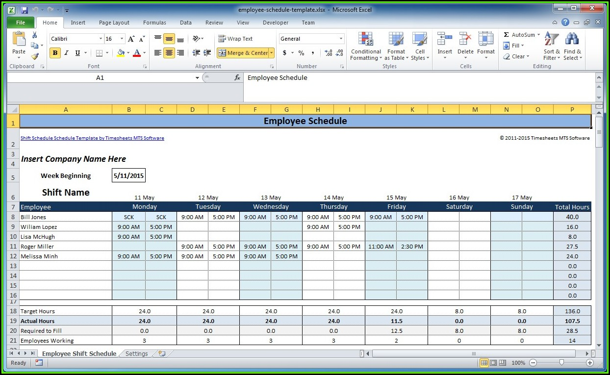 Weekly Employee Shift Schedule Template Excel Free