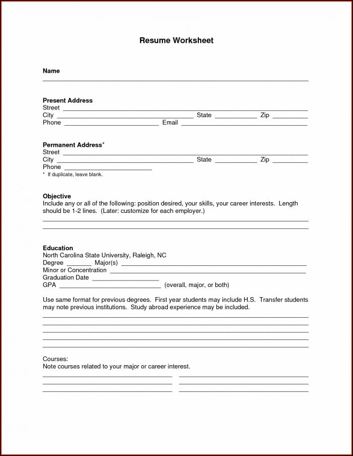 Blank Resume Template Pdf Free Download