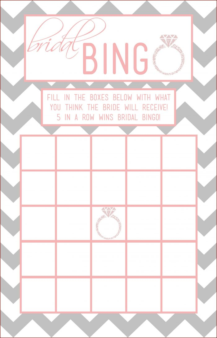Bridal Shower Bingo Template Free Printable