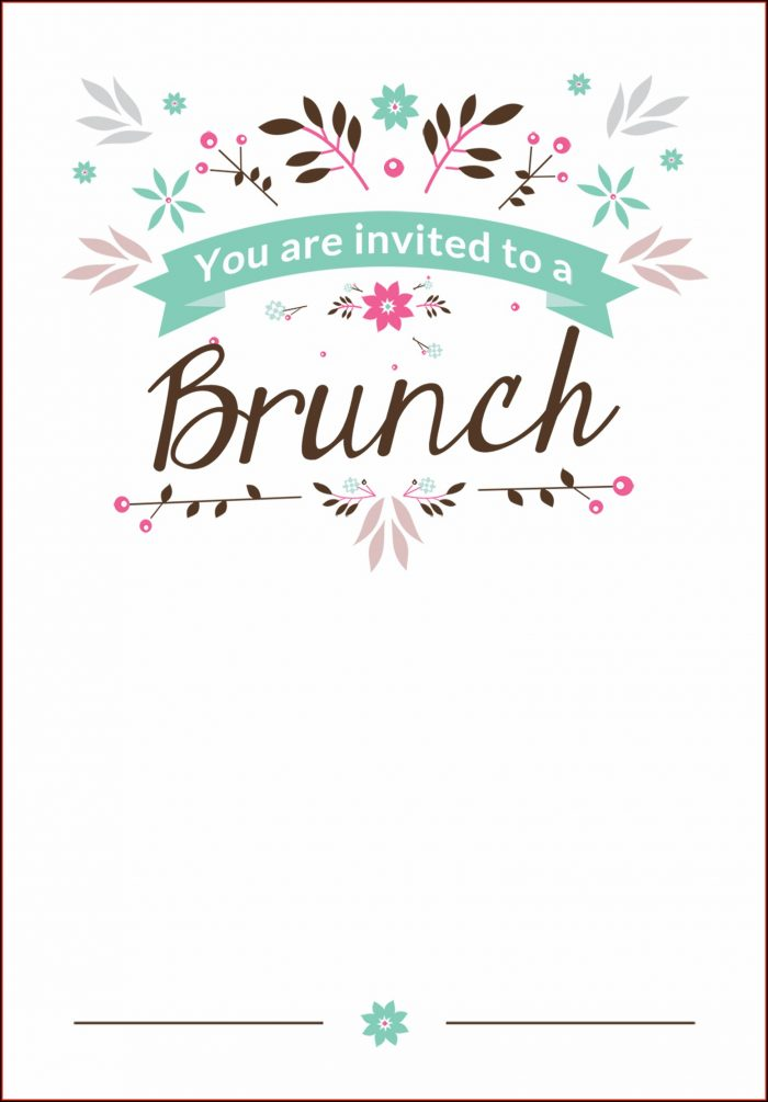 Brunch Invitation Template Printable