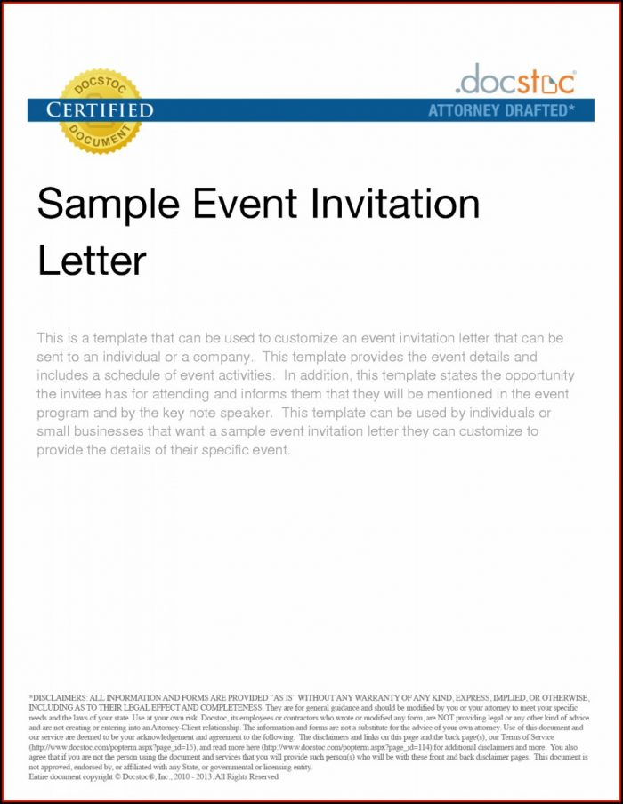 Business Event Invitation Letter Templates