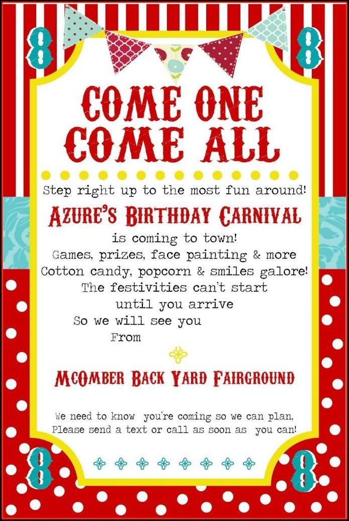 Carnival Invitation Template Printable