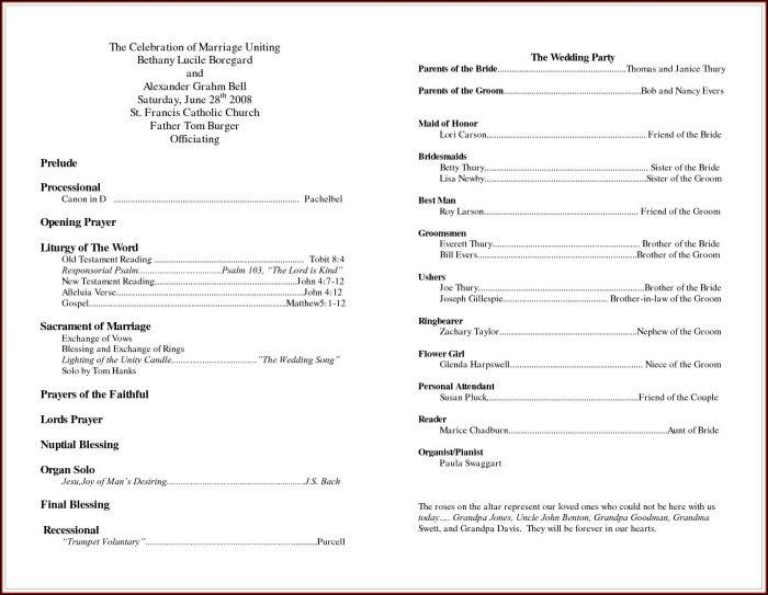 Catholic Wedding Program Template Without Mass Uk