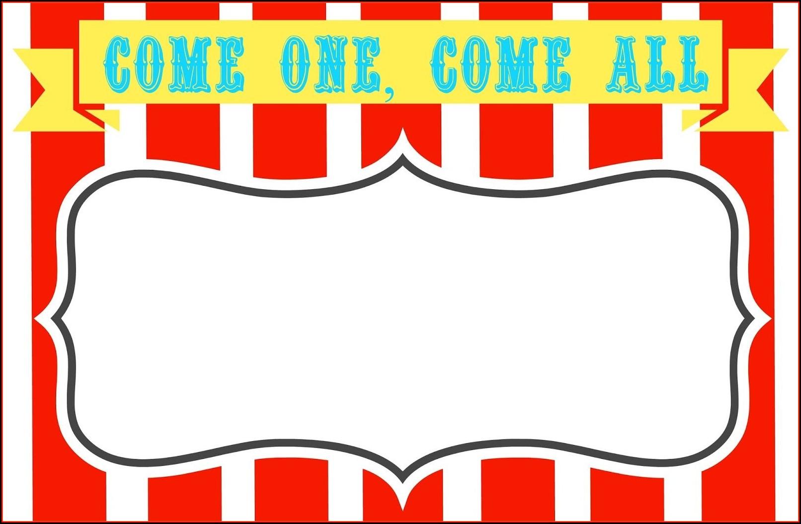 Circus Carnival Invitation Templates