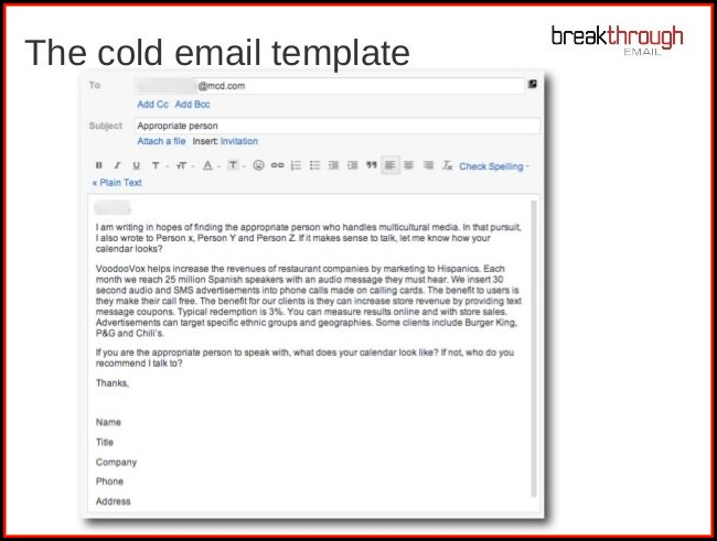 Cold Call Email Template