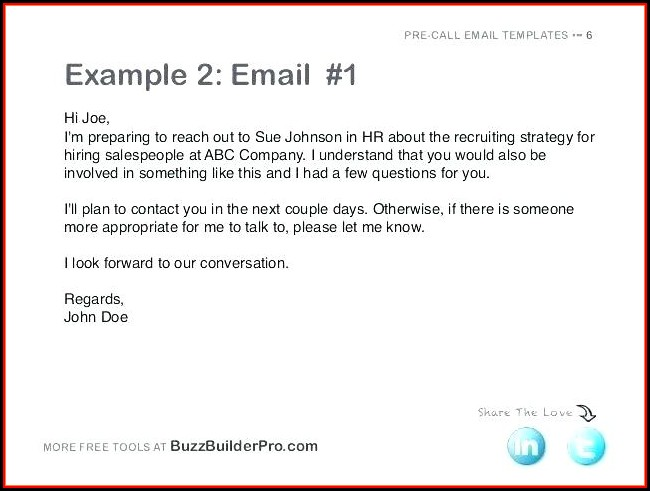 Cold Call Follow Up Email Template