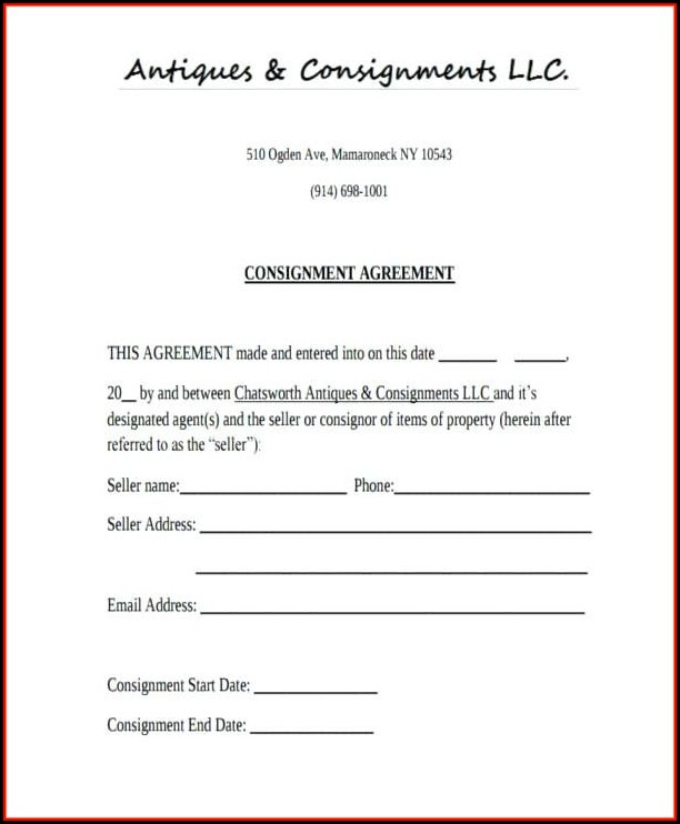 Consignment Contract Example