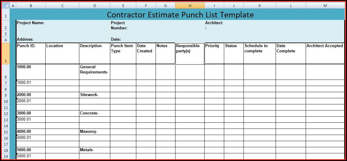 Construction Punch List Template Free