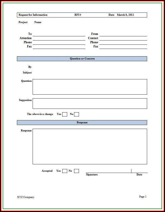 Construction Rfi Template Uk