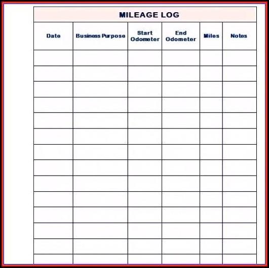 Cra Mileage Log Book Template