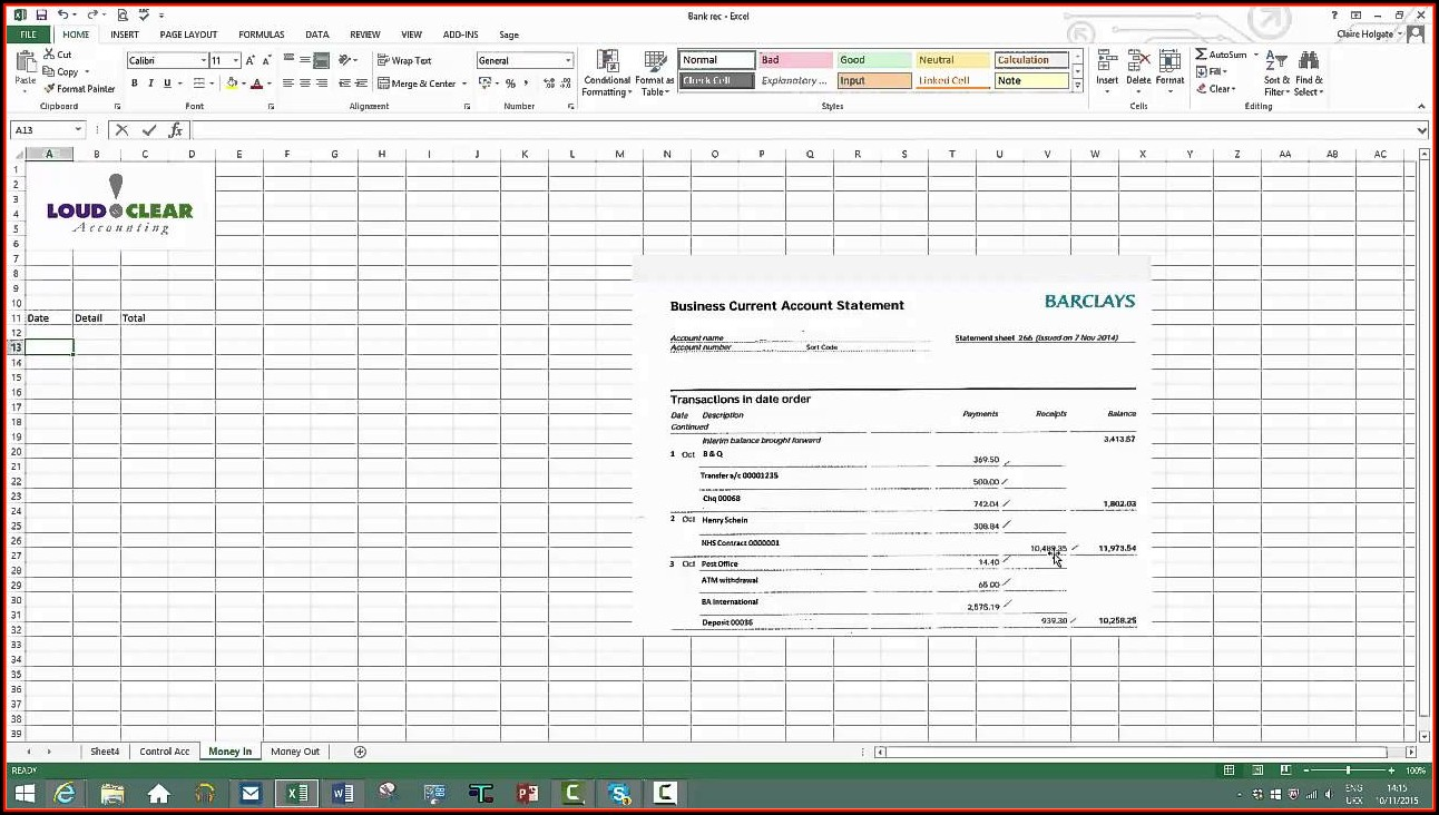 Daily Bank Reconciliation Template Excel