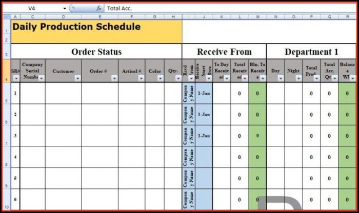 Daily Production Schedule Template Excel