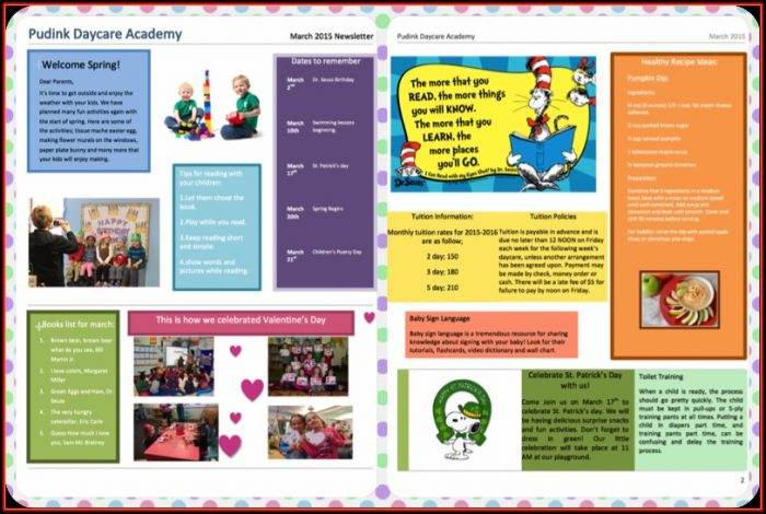 Daycare Newsletter Templates