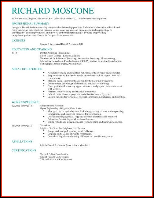 Dental Assistant Cv Template