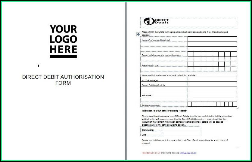 Direct Debit Form Template Free