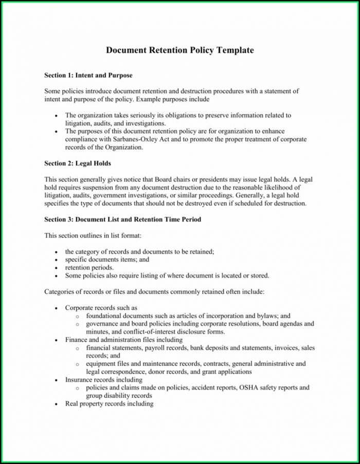 Document Retention Policy Template