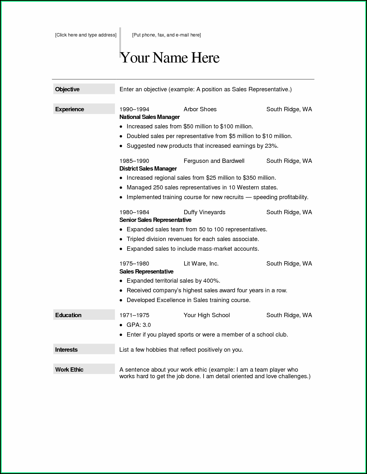 Download Free Resume Template For Mac