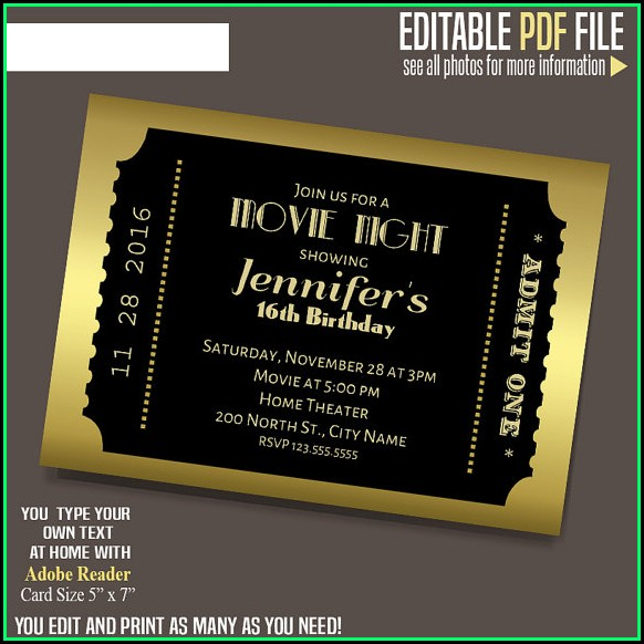 Editable Movie Ticket Invitation Template