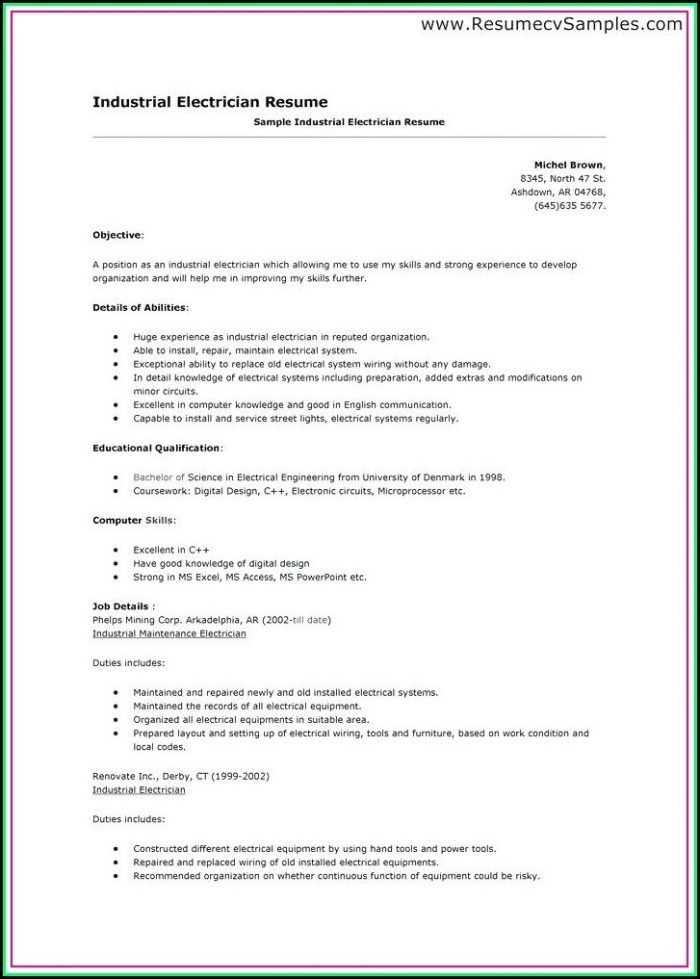 Electrician Cv Template Nz