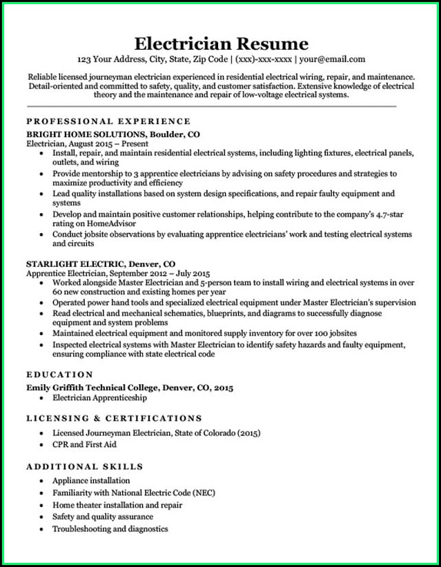 Electrician Resume Template