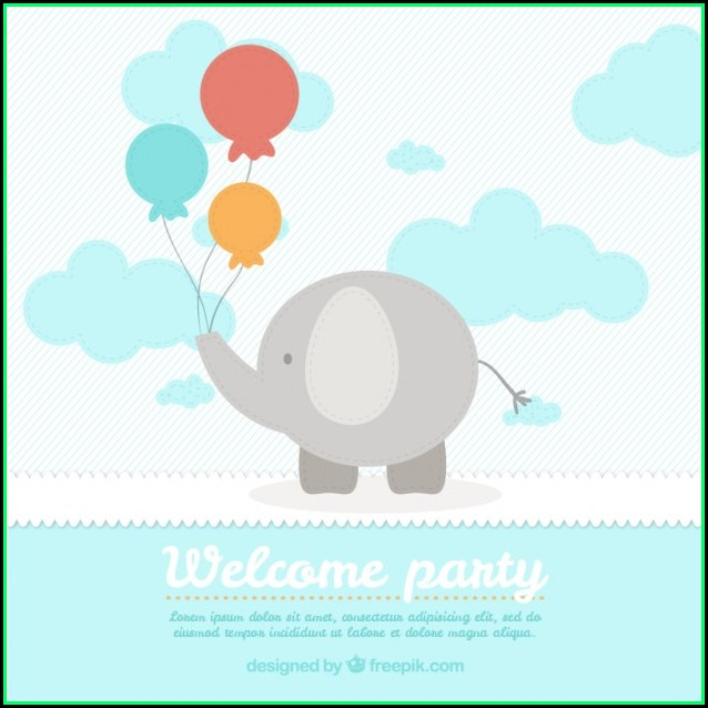 Elephant Baby Shower Card Template