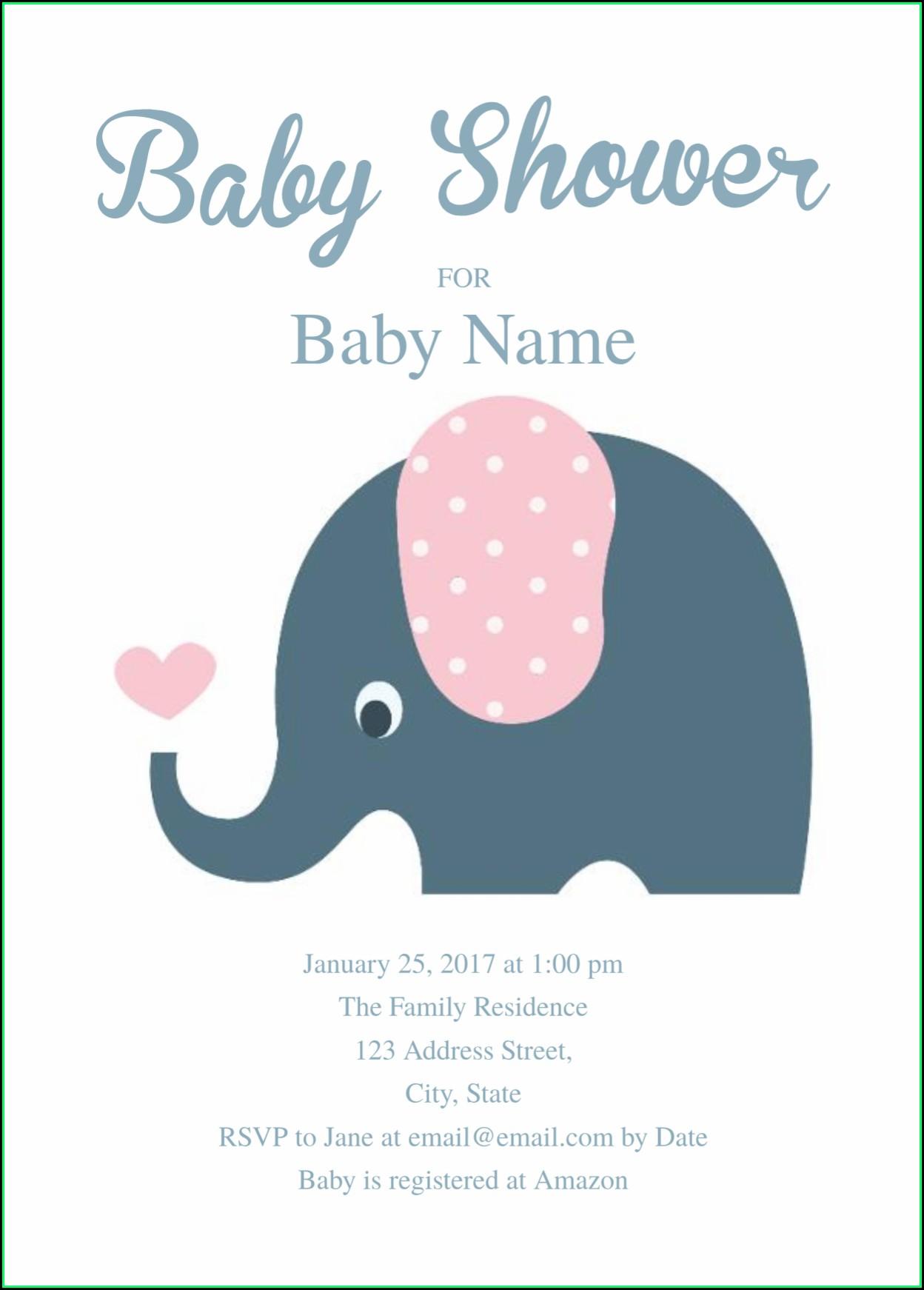 Elephant Baby Shower Invitation Templates