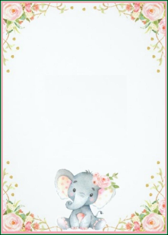 Elephant Birthday Invitation Template