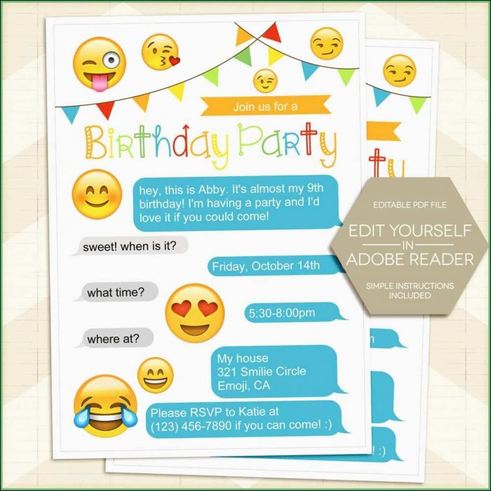 Emoji Editable Birthday Invitations Templates Free