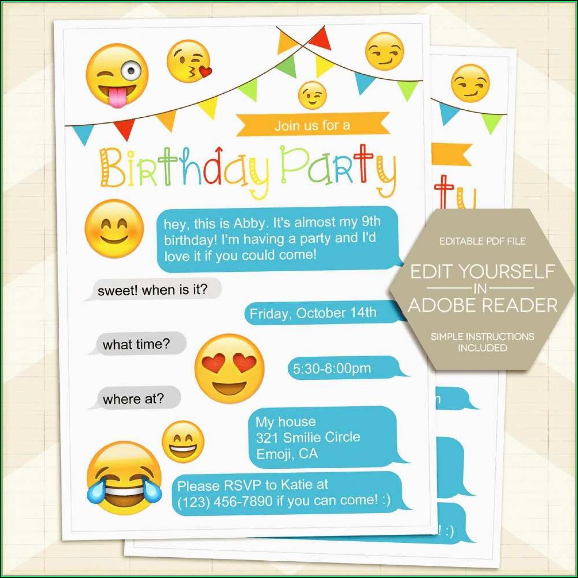 Emoji Editable Birthday Invitations Templates Free