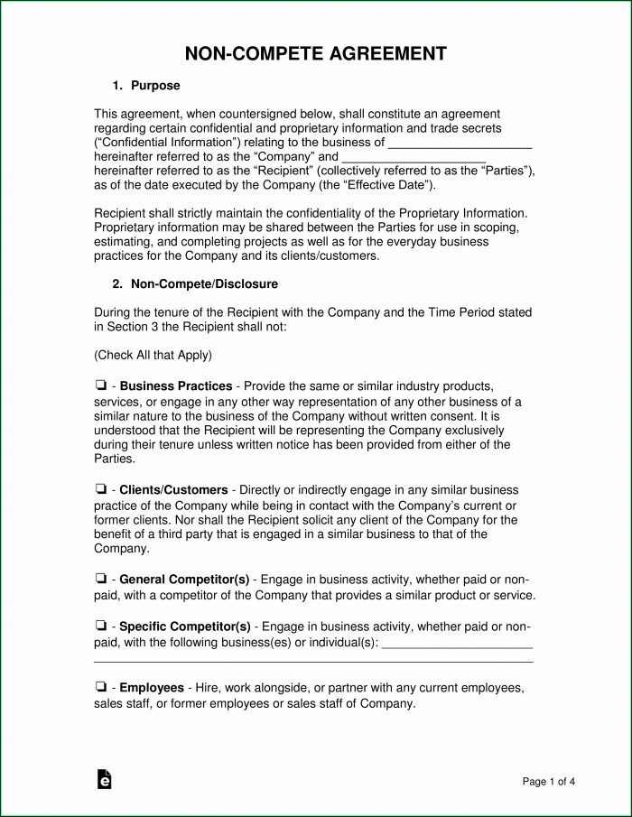 Employee Non Disclosure Non Compete Agreement Template