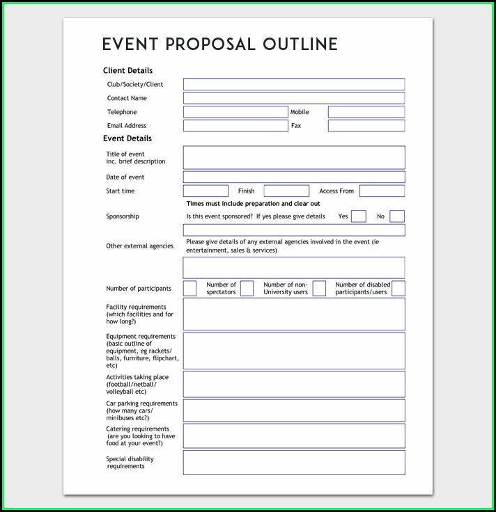 Event Planning Proposal Template Doc