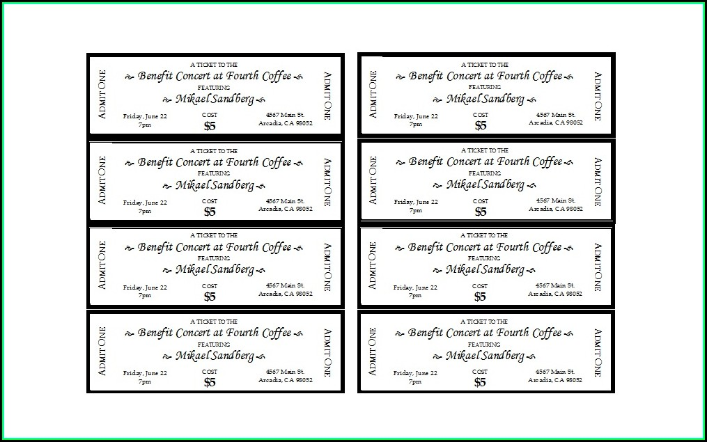 Event Ticket Template Word
