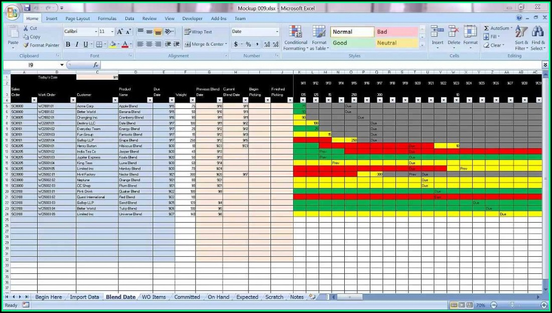 Excel Graphical Production Planning And Control Planner Template