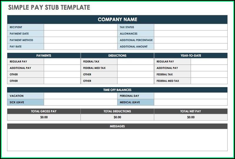 Excel Paycheck Stub Templates Free
