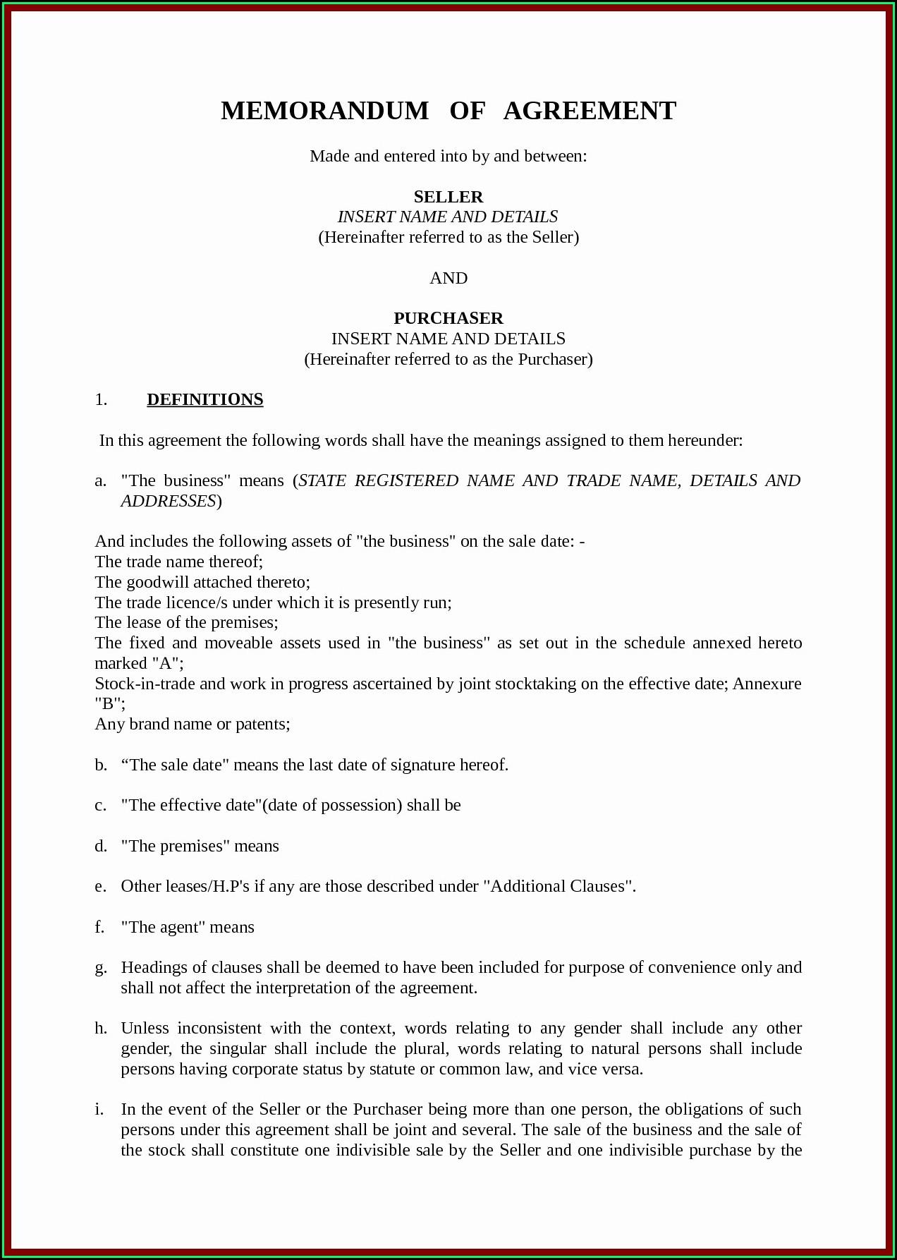 Exclusivity Agreement Sample Memorandum Of Understanding