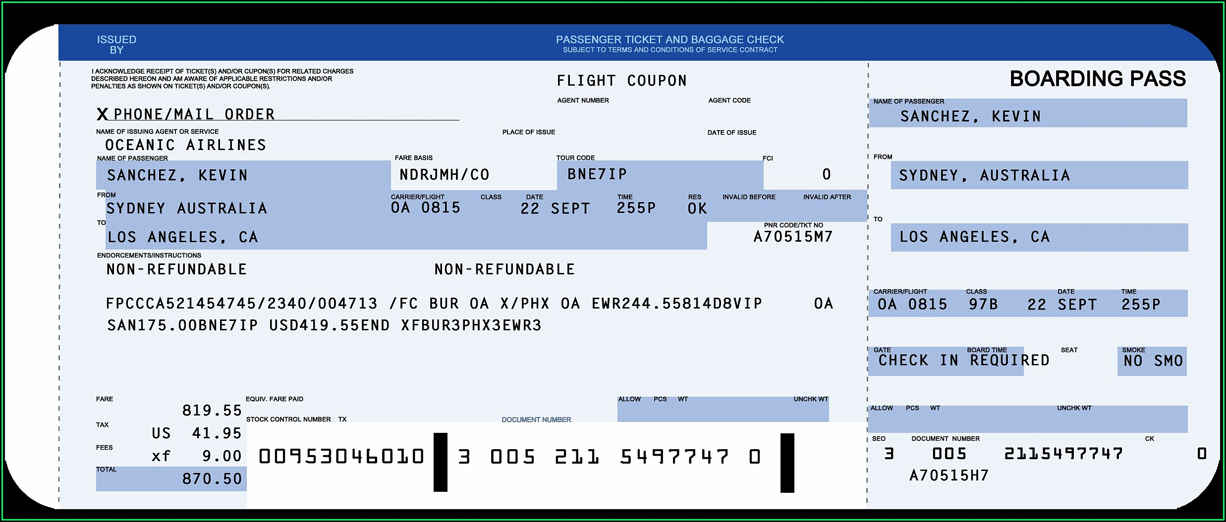 Fake Airline Ticket Template Free