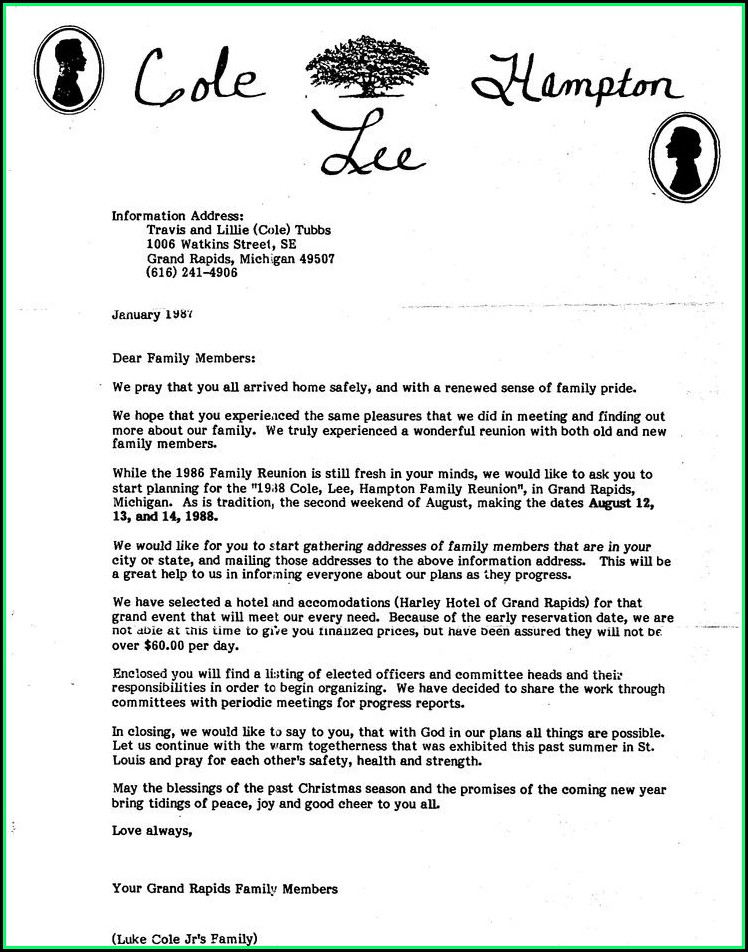 Family Reunion Letter Sample