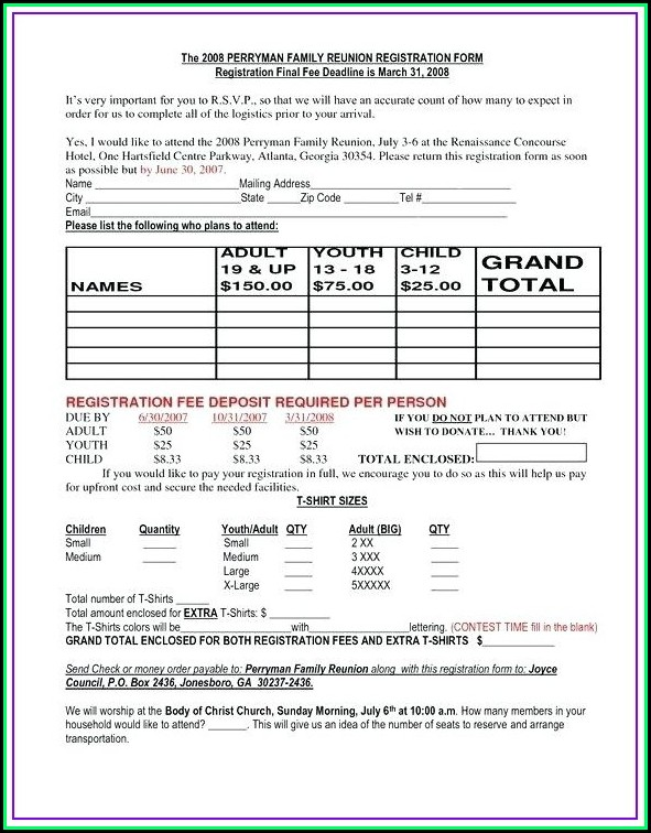 Family Reunion Registration Letter Template