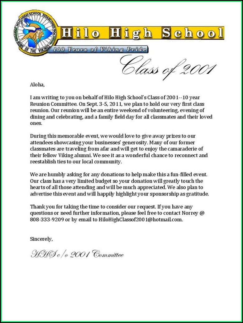 Family Reunion Solicitation Letter Sample