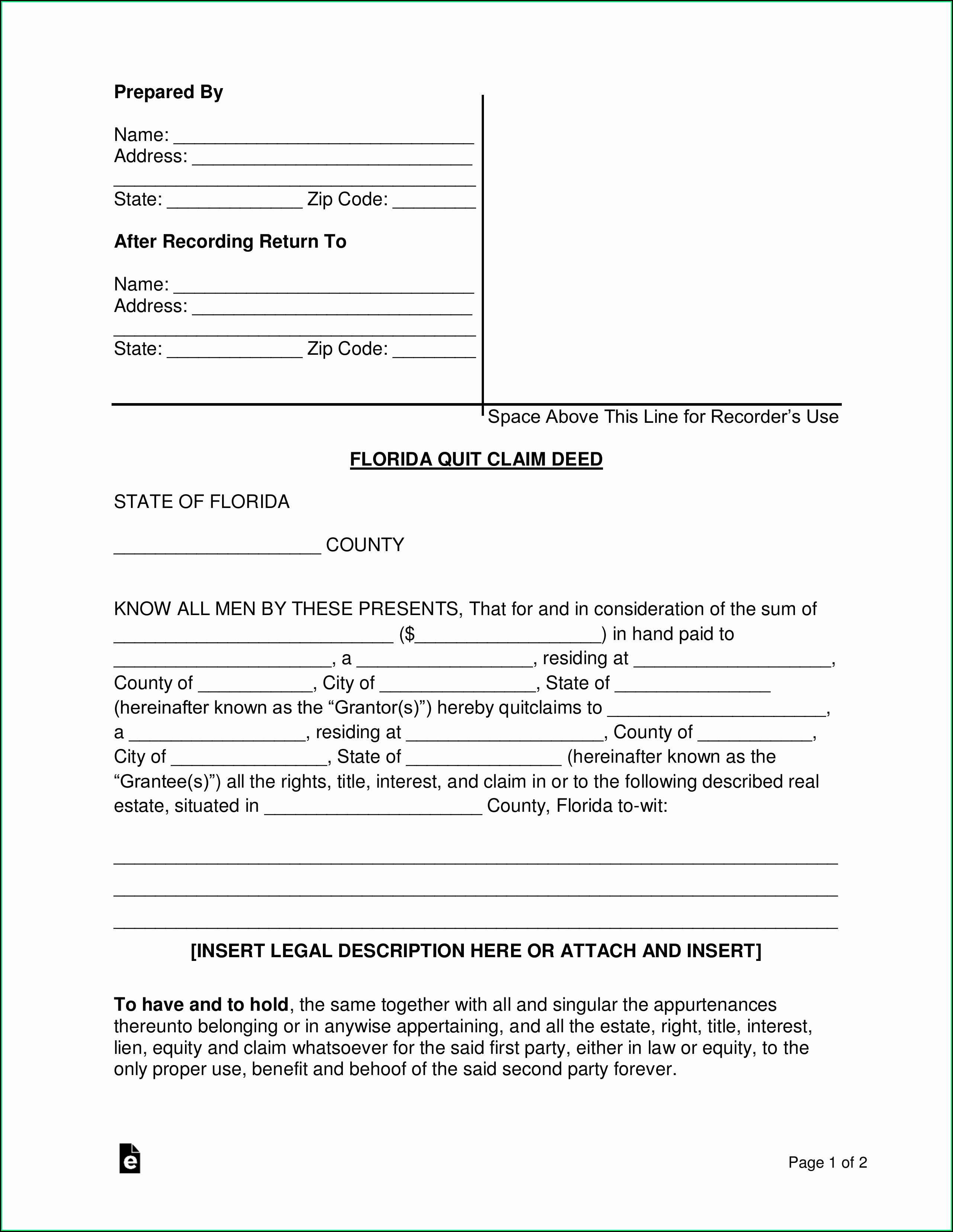 Florida Quit Claim Deed Form Word
