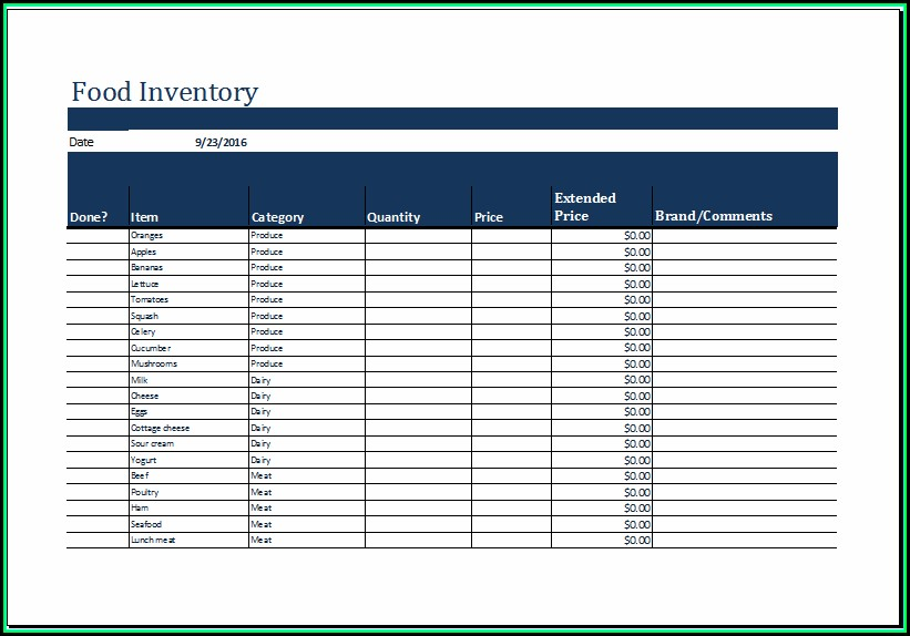 Food Inventory Templates Free Excel
