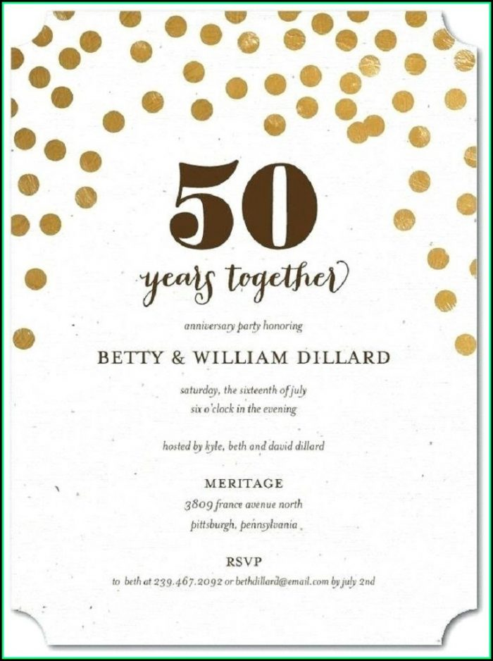 Free 50th Wedding Anniversary Party Invitation Templates