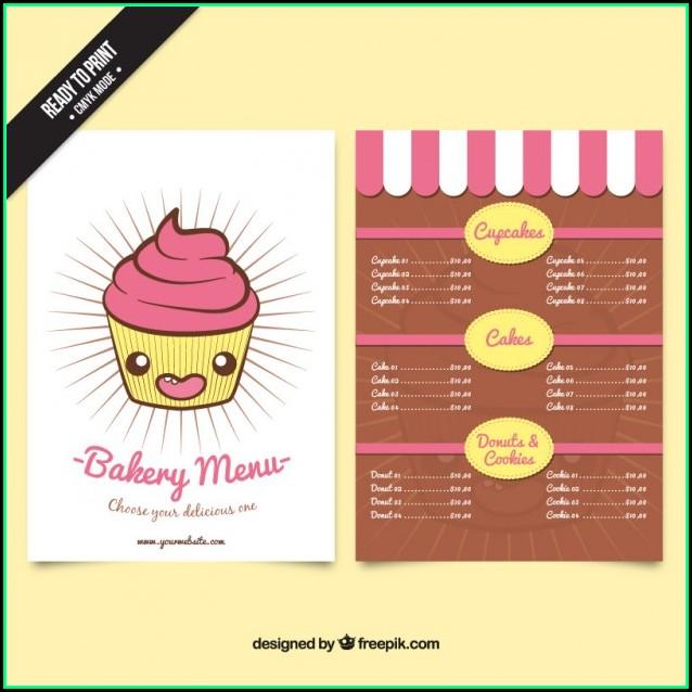 Free Bakery Menu Templates Download