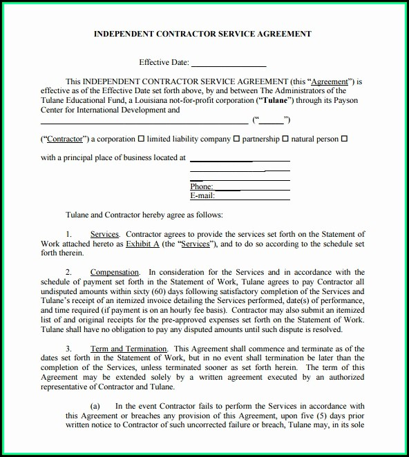 Free Basic Independent Contractor Agreement Template