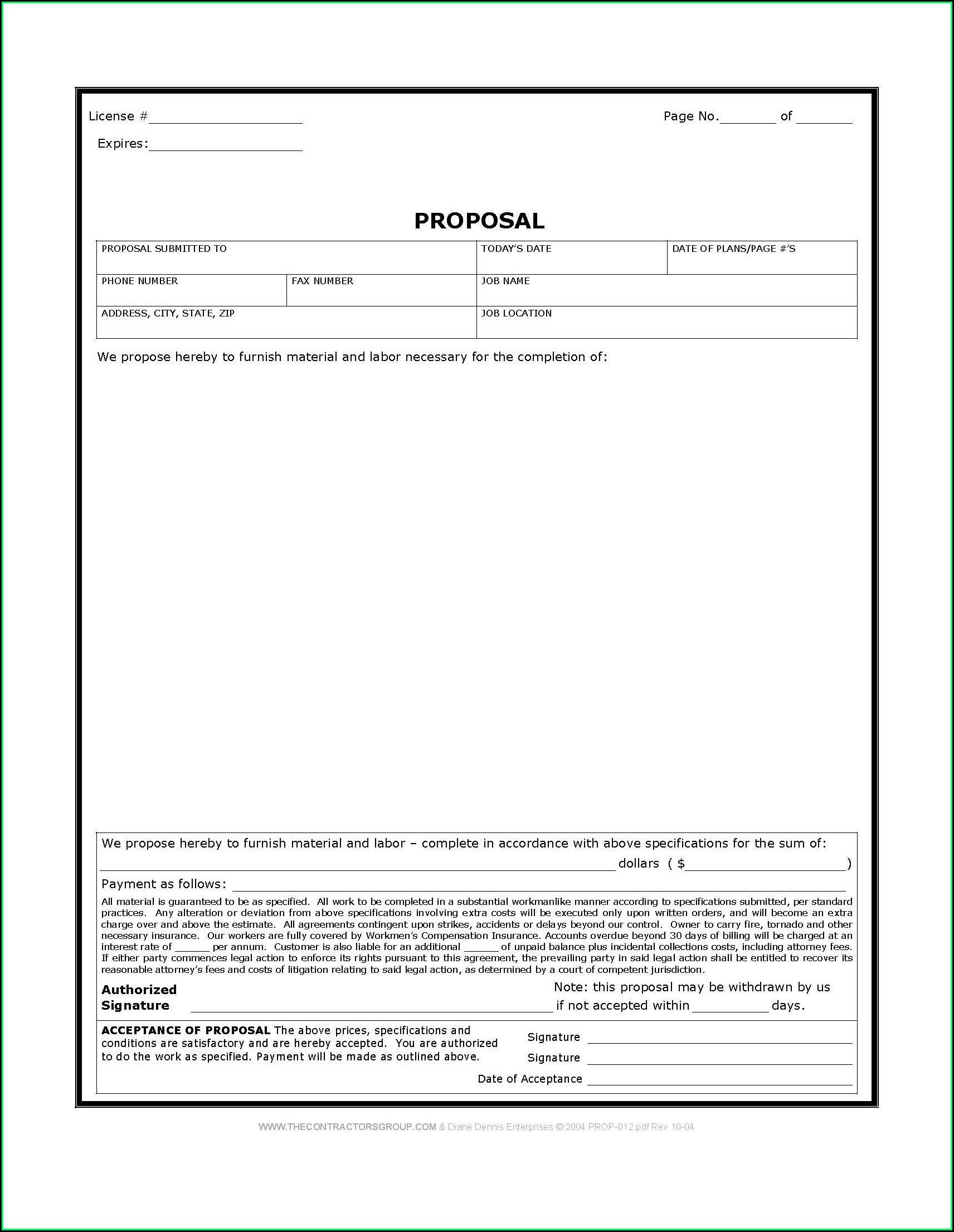 Free Bid Proposal Form