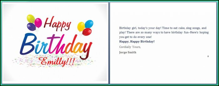 Free Birthday Card Template Word
