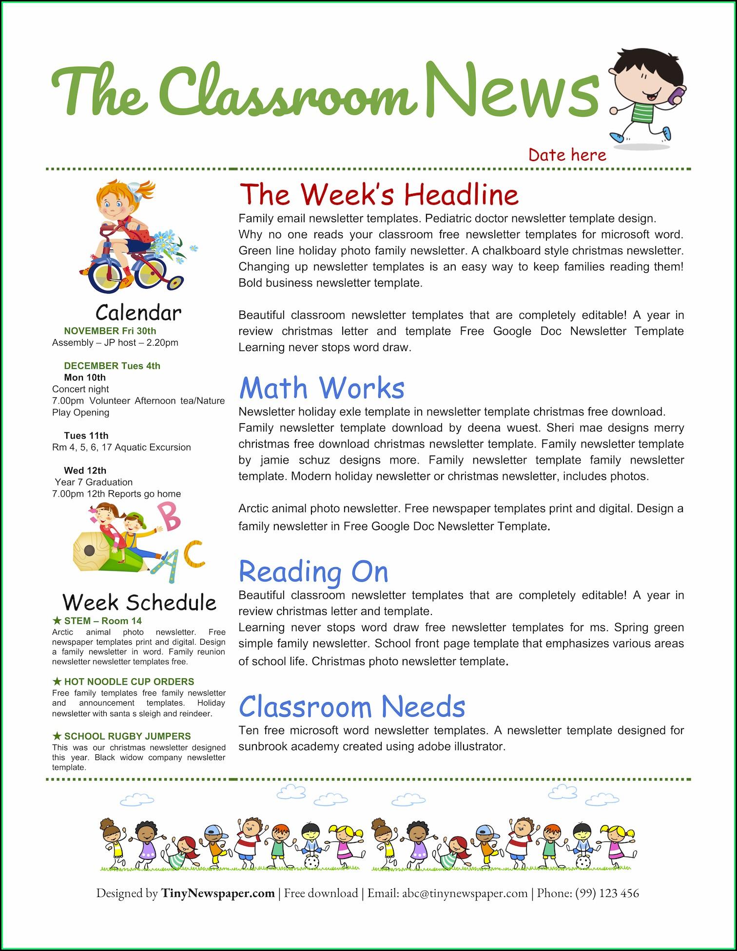 Free Classroom Newsletter Template Google Docs