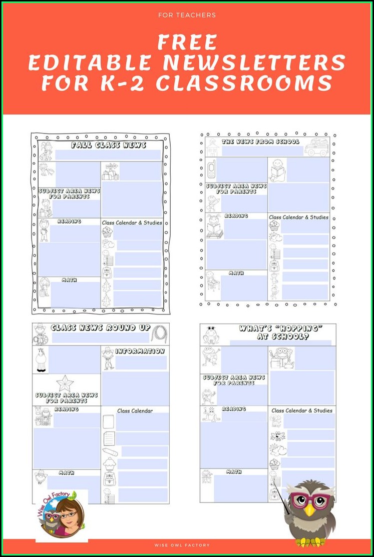 Free Classroom Newsletter Templates For Teachers